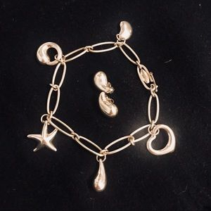 Tiffany Elsa Peretti Charm Braclet  & Earrings Set